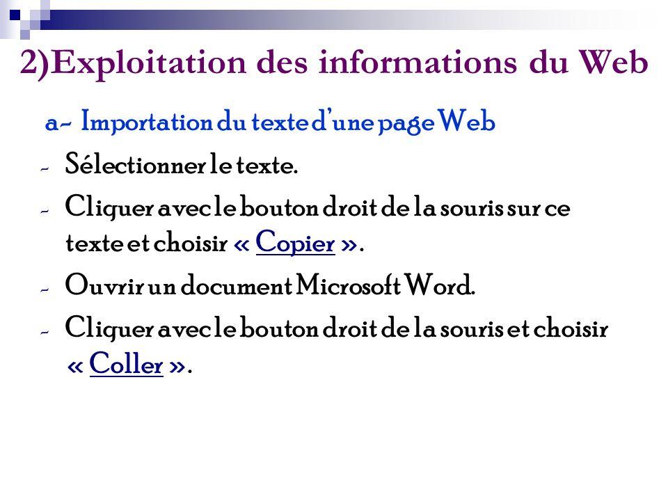2)Exploitation des informations du Web a- Importation du texte dune page Web - Sélectionner le texte. - Cliquer avec le bouton droit de la souris sur