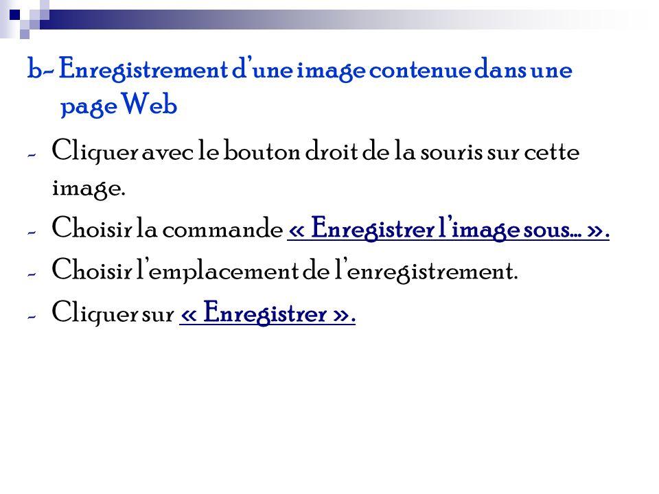 b- Enregistrement dune image contenue dans une page Web - Cliquer avec le bouton droit de la souris sur cette image. - Choisir la commande « Enregistr