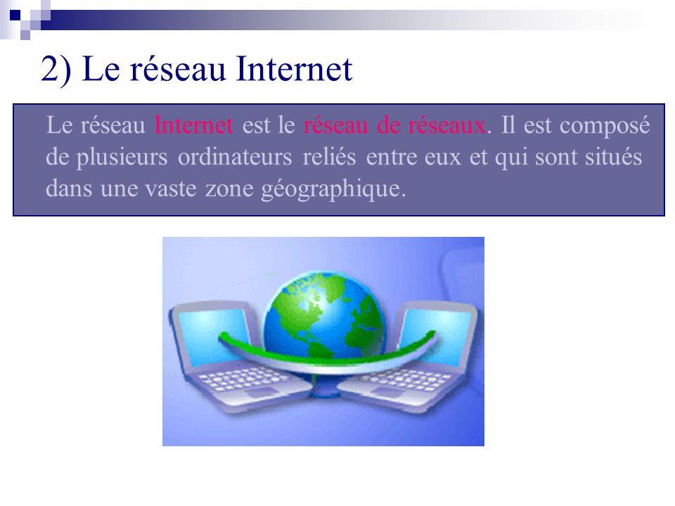 2) Le réseau Internet Le réseau Internet est le réseau de réseaux. Il est composé de plusieurs ordinateurs reliés entre eux et qui sont situés dans un