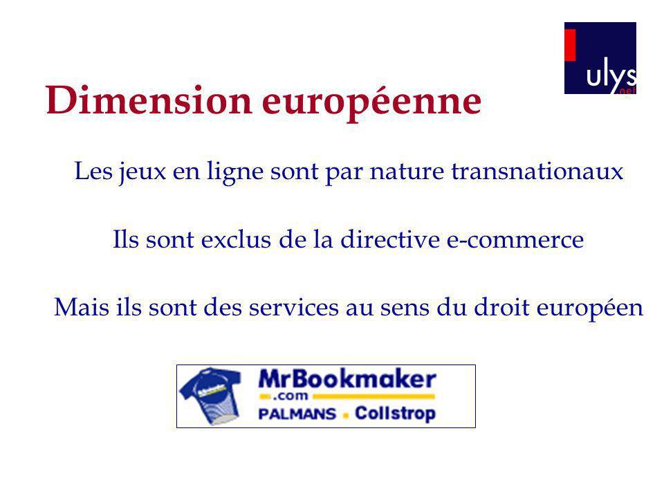 Dimension européenne Les jeux en ligne sont par nature transnationaux Ils sont exclus de la directive e-commerce Mais ils sont des services au sens du