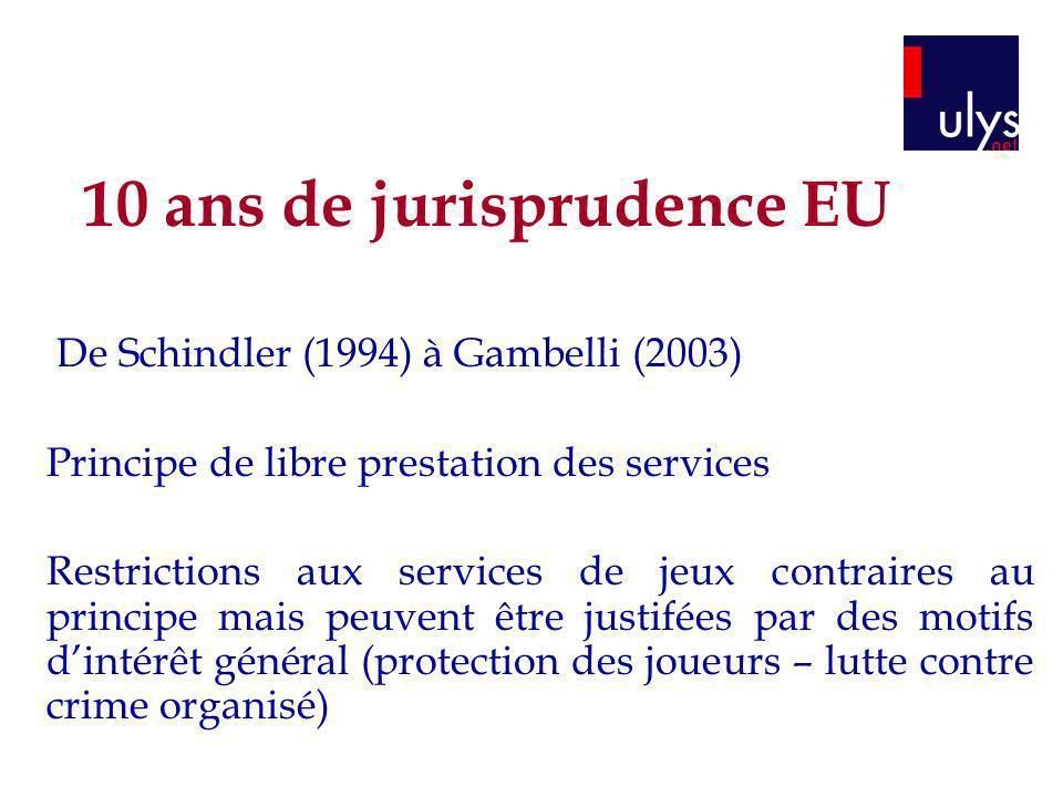 10 ans de jurisprudence EU De Schindler (1994) à Gambelli (2003) Principe de libre prestation des services Restrictions aux services de jeux contraire