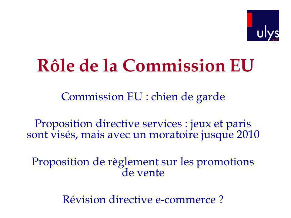 Rôle de la Commission EU Commission EU : chien de garde Proposition directive services : jeux et paris sont visés, mais avec un moratoire jusque 2010