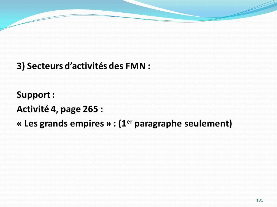 3) Secteurs dactivités des FMN : Support : Activité 4, page 265 : « Les grands empires » : (1 er paragraphe seulement) 101