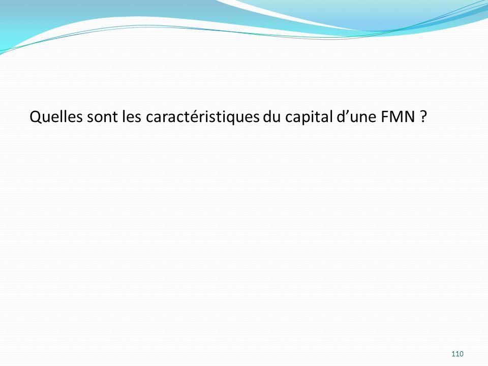 Quelles sont les caractéristiques du capital dune FMN ? 110