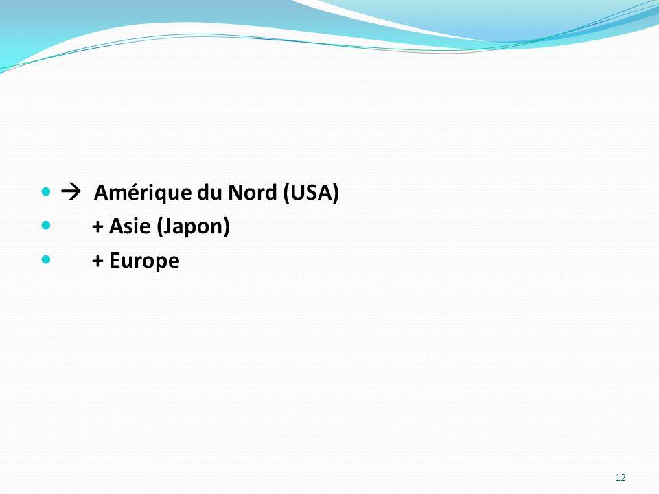 Amérique du Nord (USA) + Asie (Japon) + Europe 12