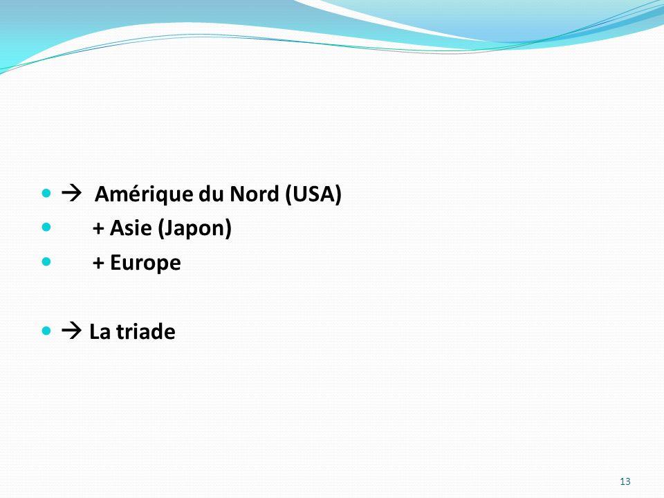 Amérique du Nord (USA) + Asie (Japon) + Europe La triade 13
