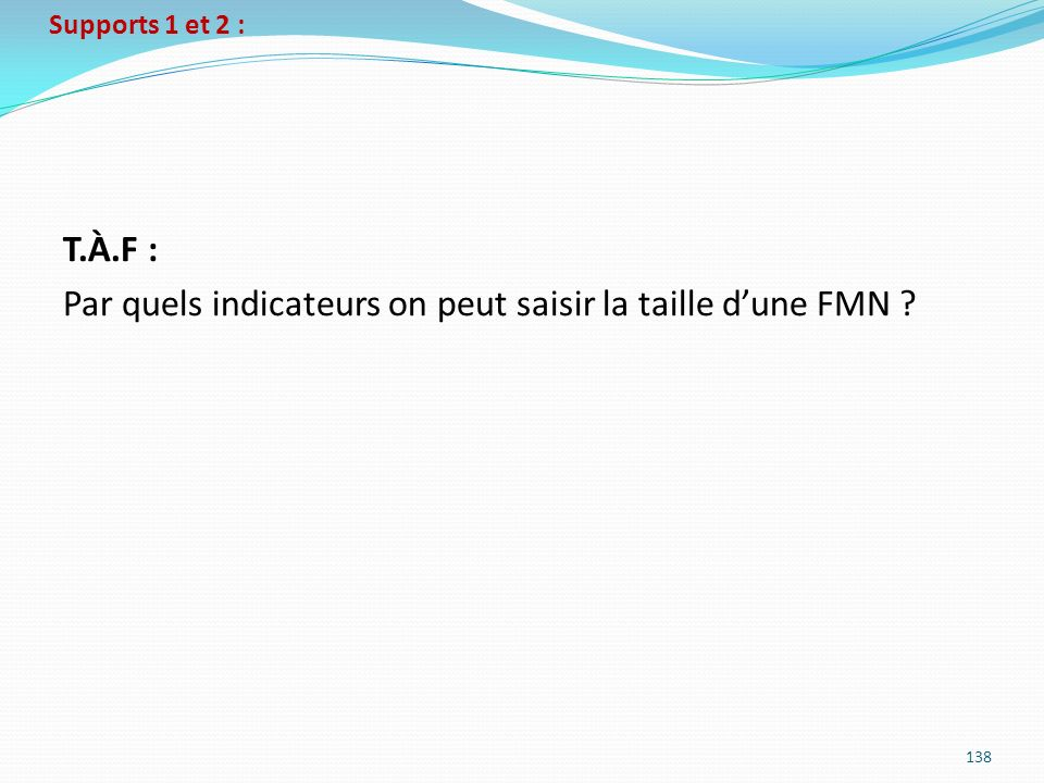 Supports 1 et 2 : 138 T.À.F : Par quels indicateurs on peut saisir la taille dune FMN ?