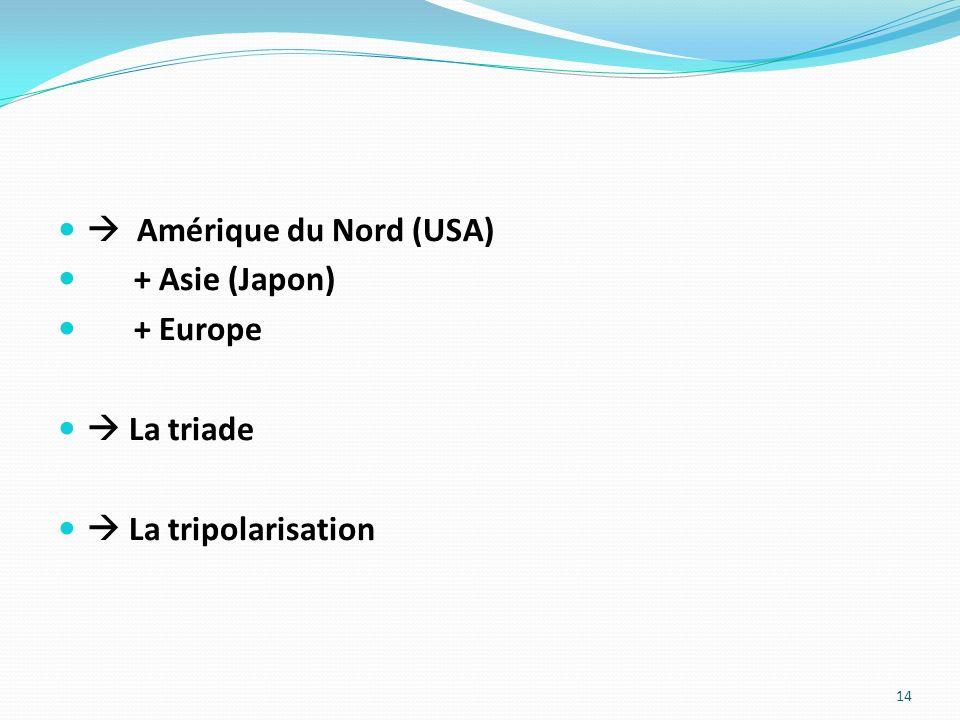 Amérique du Nord (USA) + Asie (Japon) + Europe La triade La tripolarisation 14