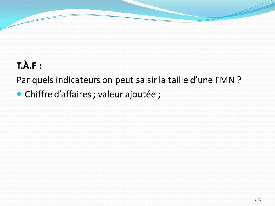 141 T.À.F : Par quels indicateurs on peut saisir la taille dune FMN ? Chiffre daffaires ; valeur ajoutée ;
