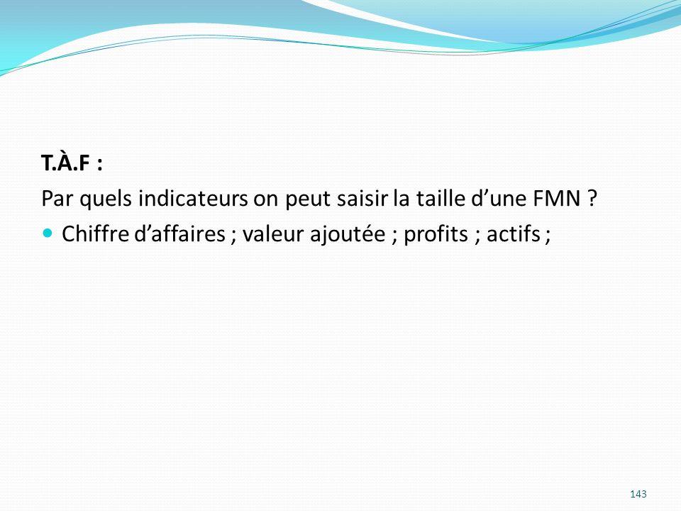 143 T.À.F : Par quels indicateurs on peut saisir la taille dune FMN ? Chiffre daffaires ; valeur ajoutée ; profits ; actifs ;