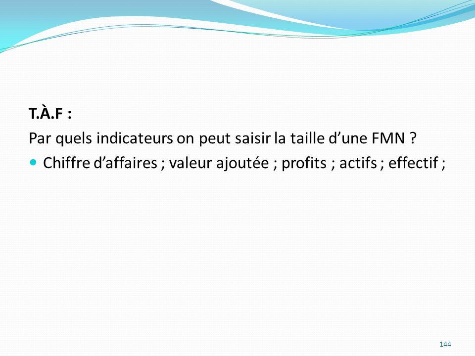 144 T.À.F : Par quels indicateurs on peut saisir la taille dune FMN ? Chiffre daffaires ; valeur ajoutée ; profits ; actifs ; effectif ;