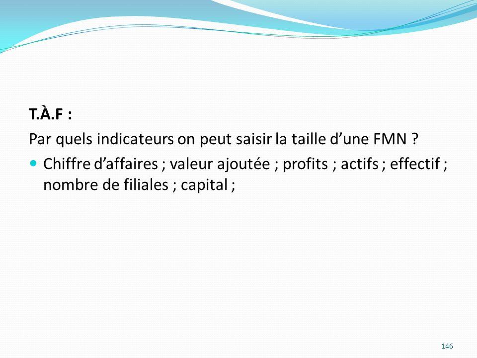146 T.À.F : Par quels indicateurs on peut saisir la taille dune FMN ? Chiffre daffaires ; valeur ajoutée ; profits ; actifs ; effectif ; nombre de fil
