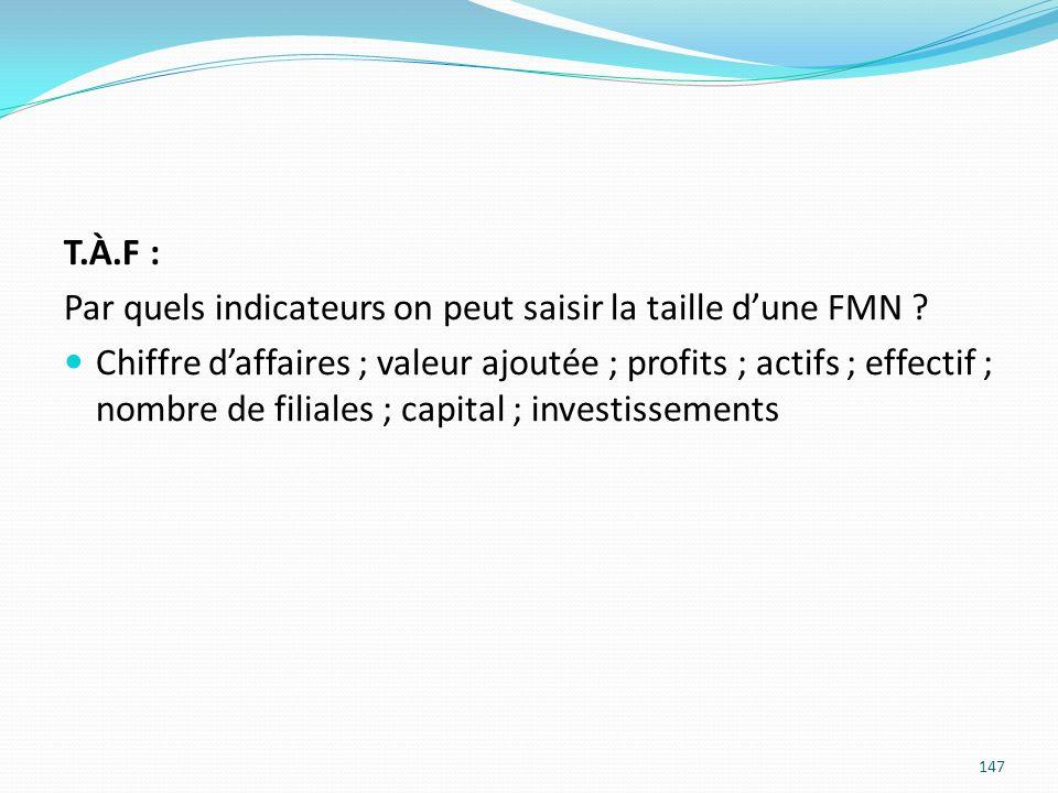 147 T.À.F : Par quels indicateurs on peut saisir la taille dune FMN ? Chiffre daffaires ; valeur ajoutée ; profits ; actifs ; effectif ; nombre de fil