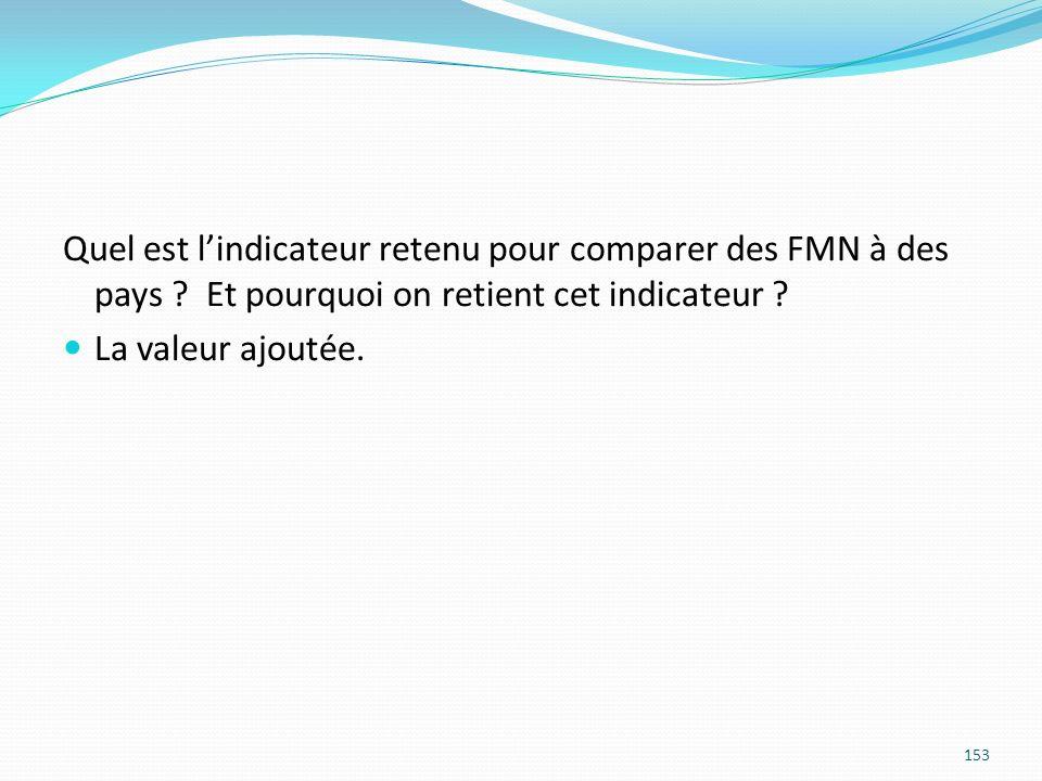 Quel est lindicateur retenu pour comparer des FMN à des pays ? Et pourquoi on retient cet indicateur ? La valeur ajoutée. 153