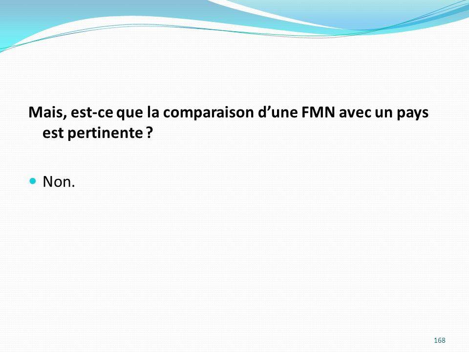Mais, est-ce que la comparaison dune FMN avec un pays est pertinente ? Non. 168