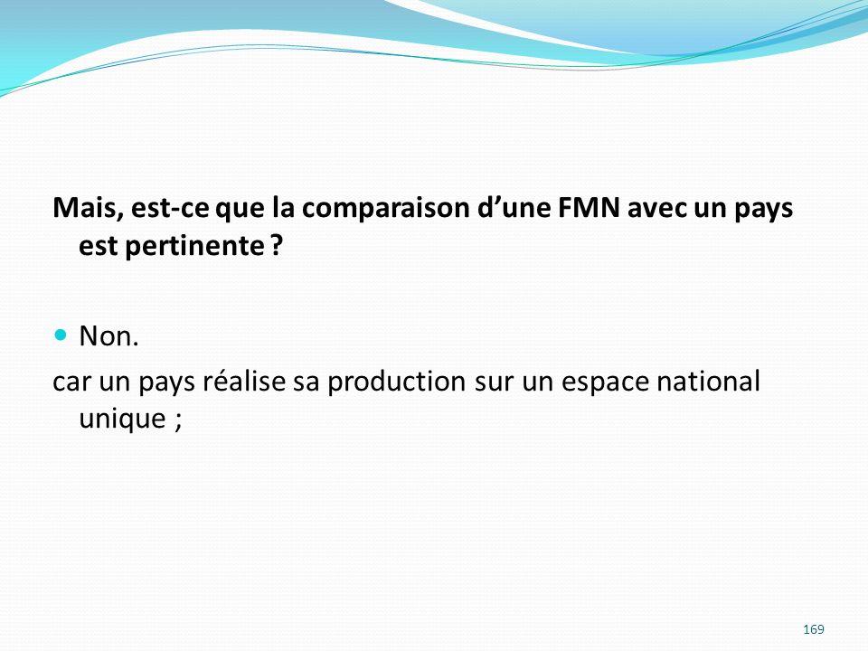 Mais, est-ce que la comparaison dune FMN avec un pays est pertinente ? Non. car un pays réalise sa production sur un espace national unique ; 169