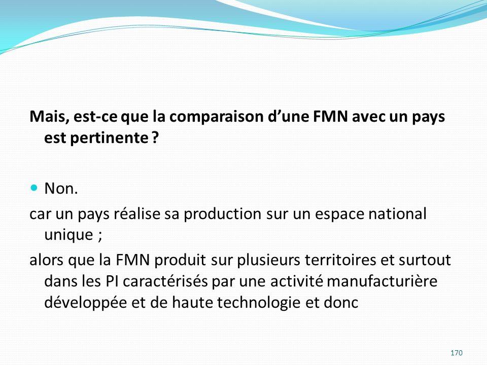 Mais, est-ce que la comparaison dune FMN avec un pays est pertinente ? Non. car un pays réalise sa production sur un espace national unique ; alors qu