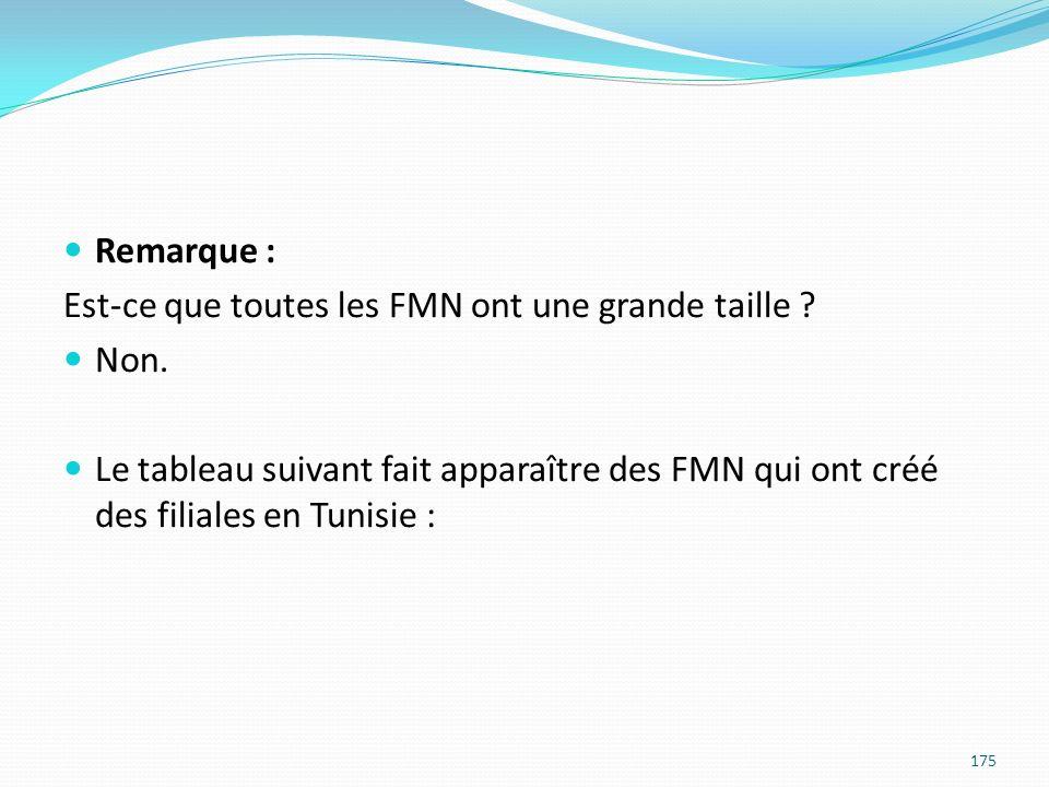 Remarque : Est-ce que toutes les FMN ont une grande taille ? Non. Le tableau suivant fait apparaître des FMN qui ont créé des filiales en Tunisie : 17