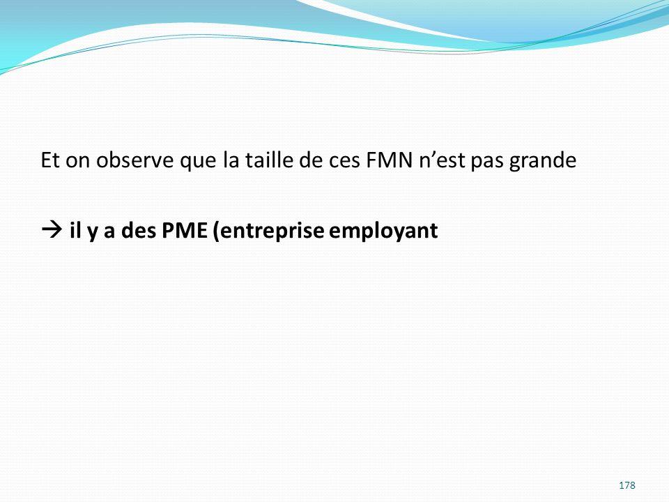 Et on observe que la taille de ces FMN nest pas grande il y a des PME (entreprise employant 178
