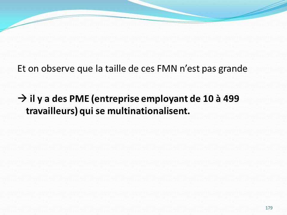 Et on observe que la taille de ces FMN nest pas grande il y a des PME (entreprise employant de 10 à 499 travailleurs) qui se multinationalisent. 179