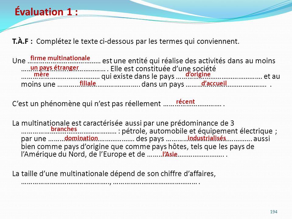Évaluation 1 : T.À.F : Complétez le texte ci-dessous par les termes qui conviennent. Une ………………………………… est une entité qui réalise des activités dans a