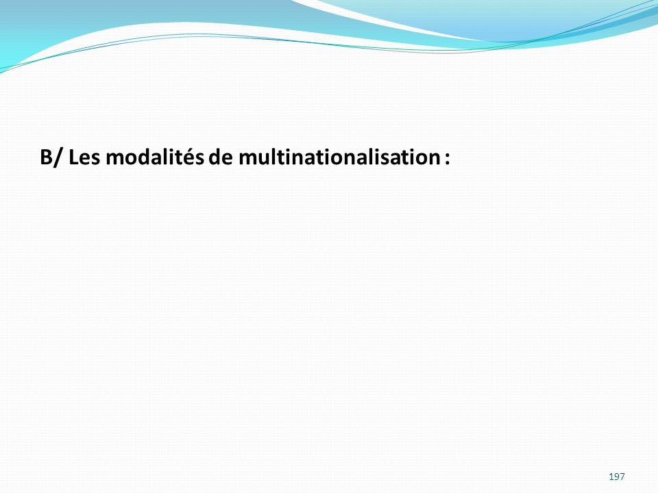 B/ Les modalités de multinationalisation : 197