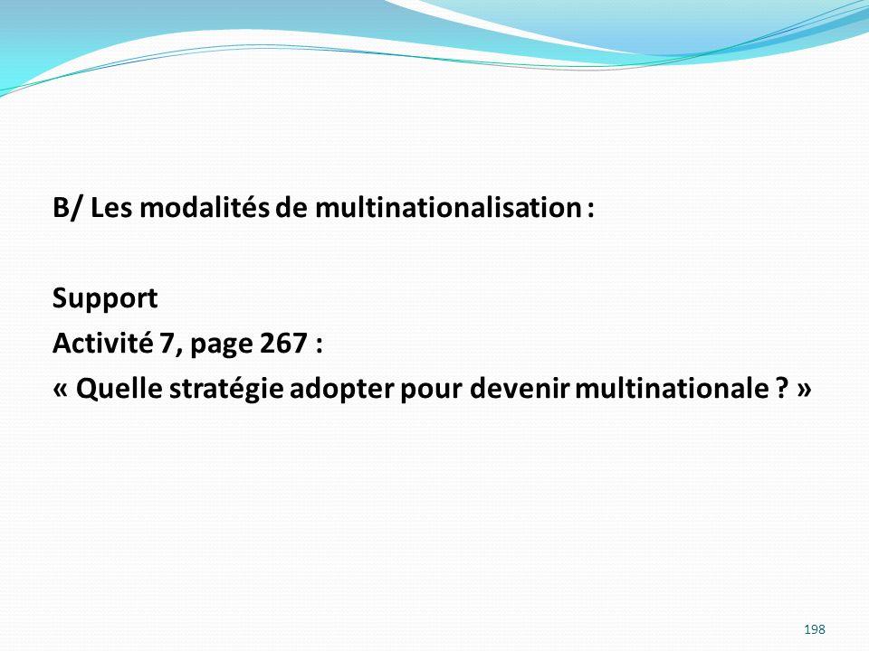 B/ Les modalités de multinationalisation : Support Activité 7, page 267 : « Quelle stratégie adopter pour devenir multinationale ? » 198