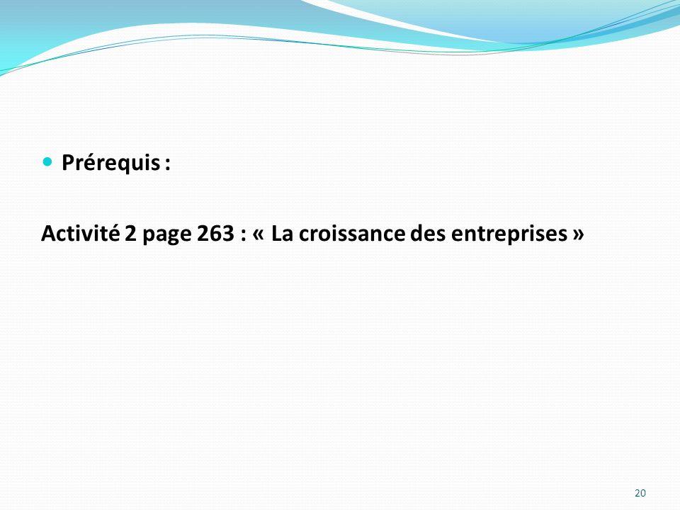 Prérequis : Activité 2 page 263 : « La croissance des entreprises » 20