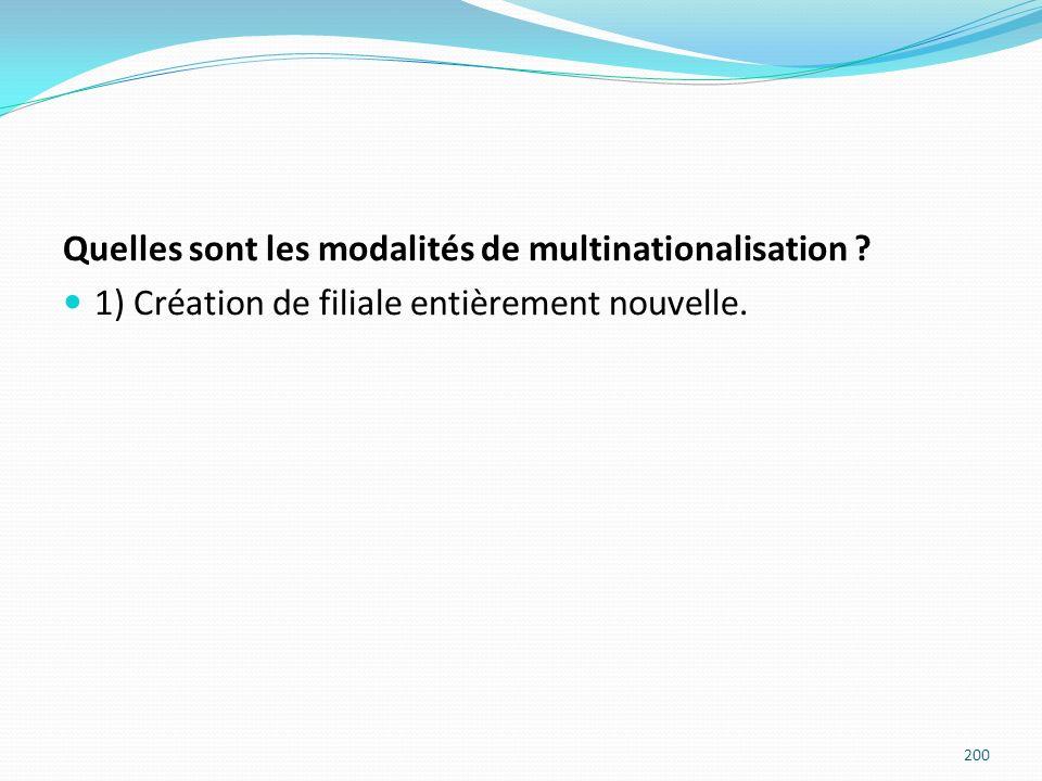 Quelles sont les modalités de multinationalisation ? 1) Création de filiale entièrement nouvelle. 200