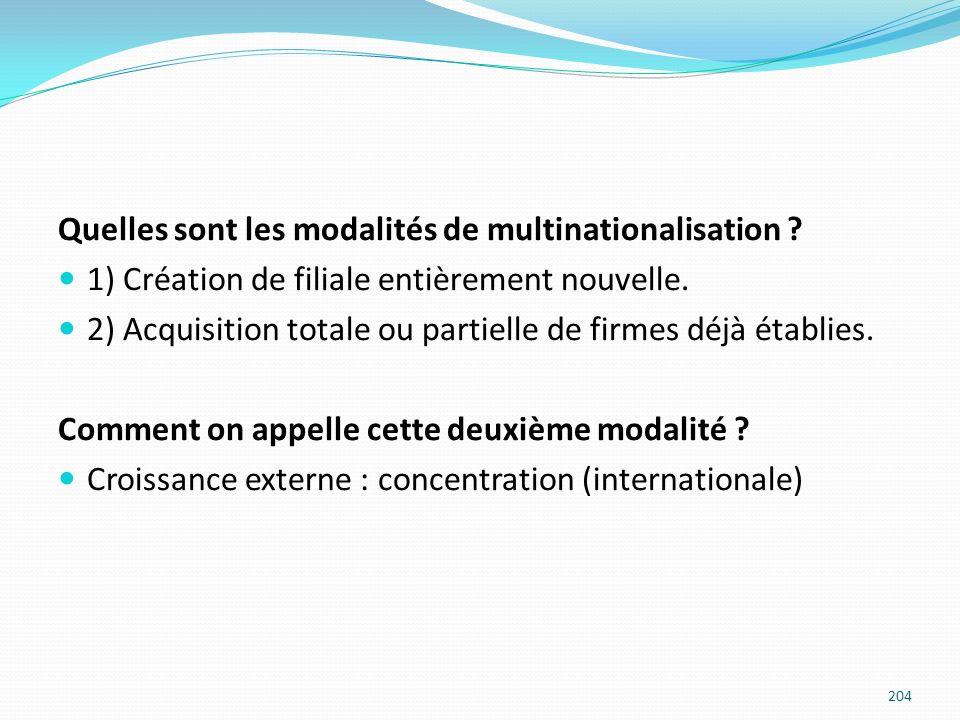 Quelles sont les modalités de multinationalisation ? 1) Création de filiale entièrement nouvelle. 2) Acquisition totale ou partielle de firmes déjà ét
