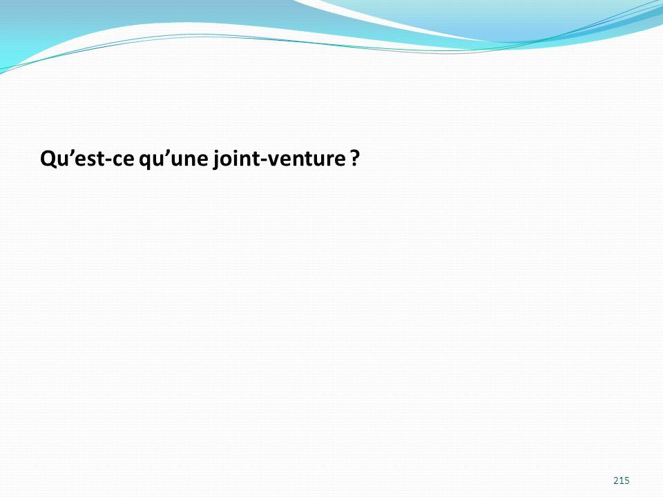 Quest-ce quune joint-venture ? 215