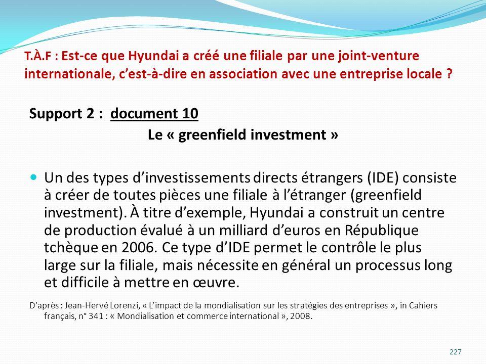 T.À.F : Est-ce que Hyundai a créé une filiale par une joint-venture internationale, cest-à-dire en association avec une entreprise locale ? Support 2