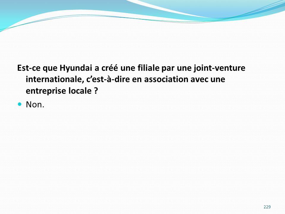 Est-ce que Hyundai a créé une filiale par une joint-venture internationale, cest-à-dire en association avec une entreprise locale ? Non. 229