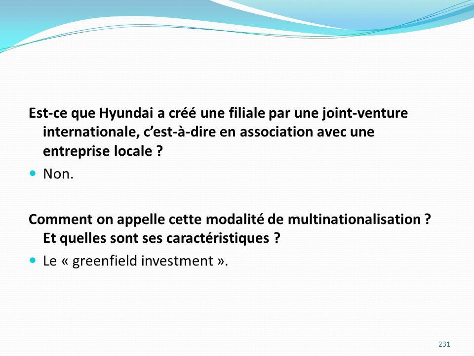 Est-ce que Hyundai a créé une filiale par une joint-venture internationale, cest-à-dire en association avec une entreprise locale ? Non. Comment on ap