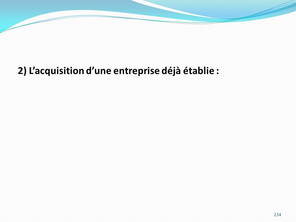 2) Lacquisition dune entreprise déjà établie : 234