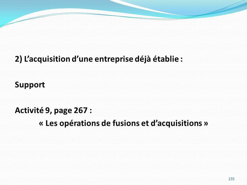 2) Lacquisition dune entreprise déjà établie : Support Activité 9, page 267 : « Les opérations de fusions et dacquisitions » 235