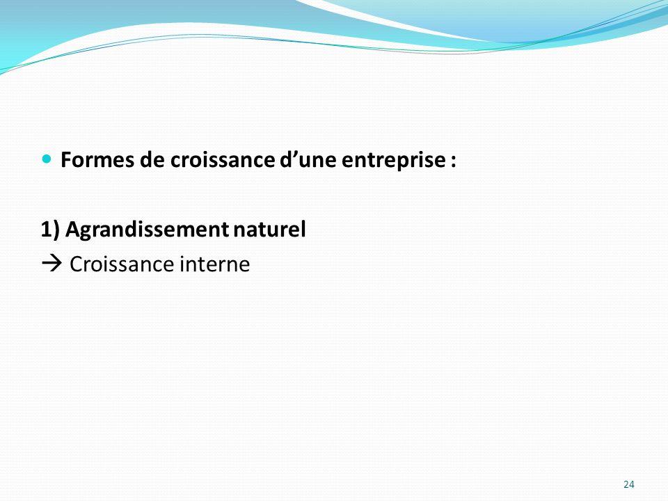 Formes de croissance dune entreprise : 1) Agrandissement naturel Croissance interne 24