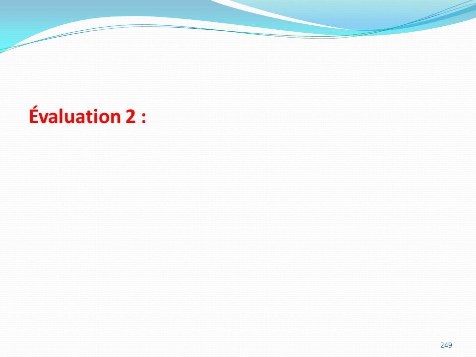Évaluation 2 : 249