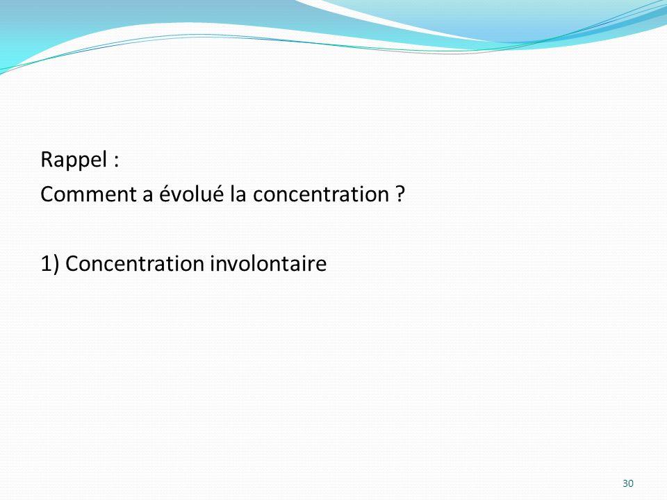 Rappel : Comment a évolué la concentration ? 1) Concentration involontaire 30