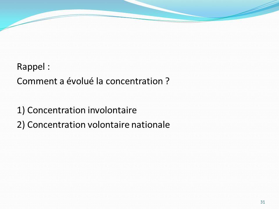 Rappel : Comment a évolué la concentration ? 1) Concentration involontaire 2) Concentration volontaire nationale 31