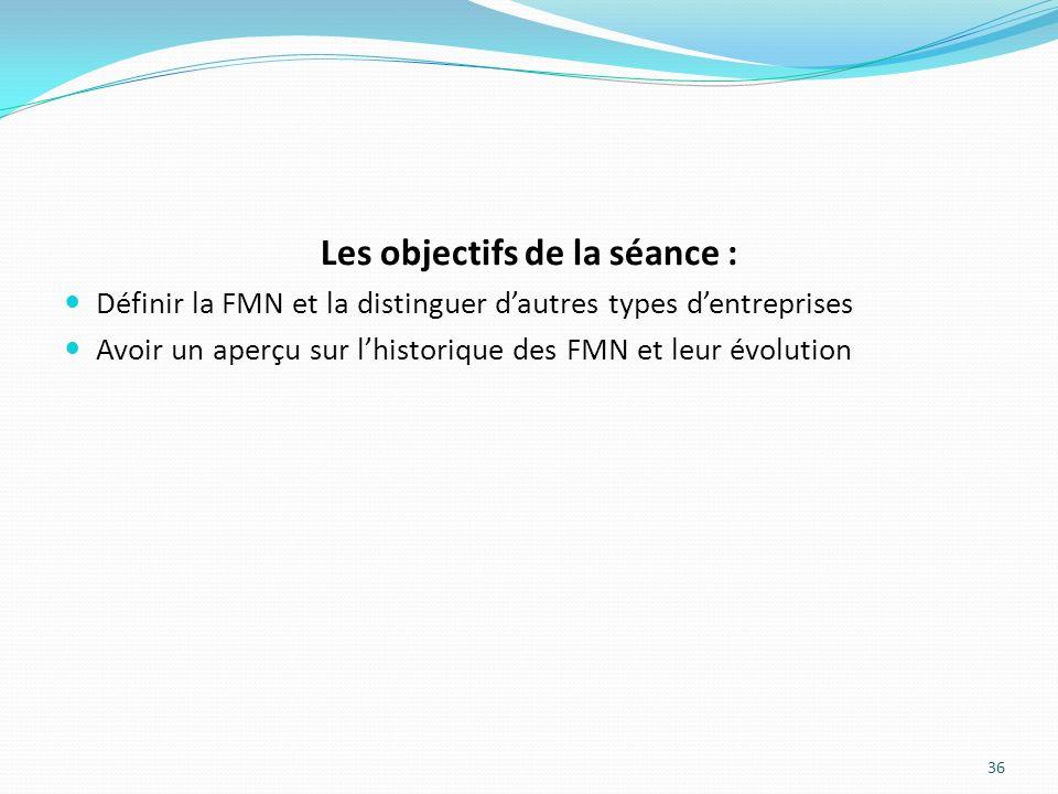 Les objectifs de la séance : Définir la FMN et la distinguer dautres types dentreprises Avoir un aperçu sur lhistorique des FMN et leur évolution 36