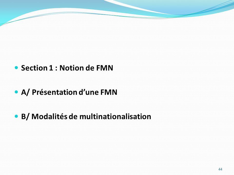 Section 1 : Notion de FMN A/ Présentation dune FMN B/ Modalités de multinationalisation 44