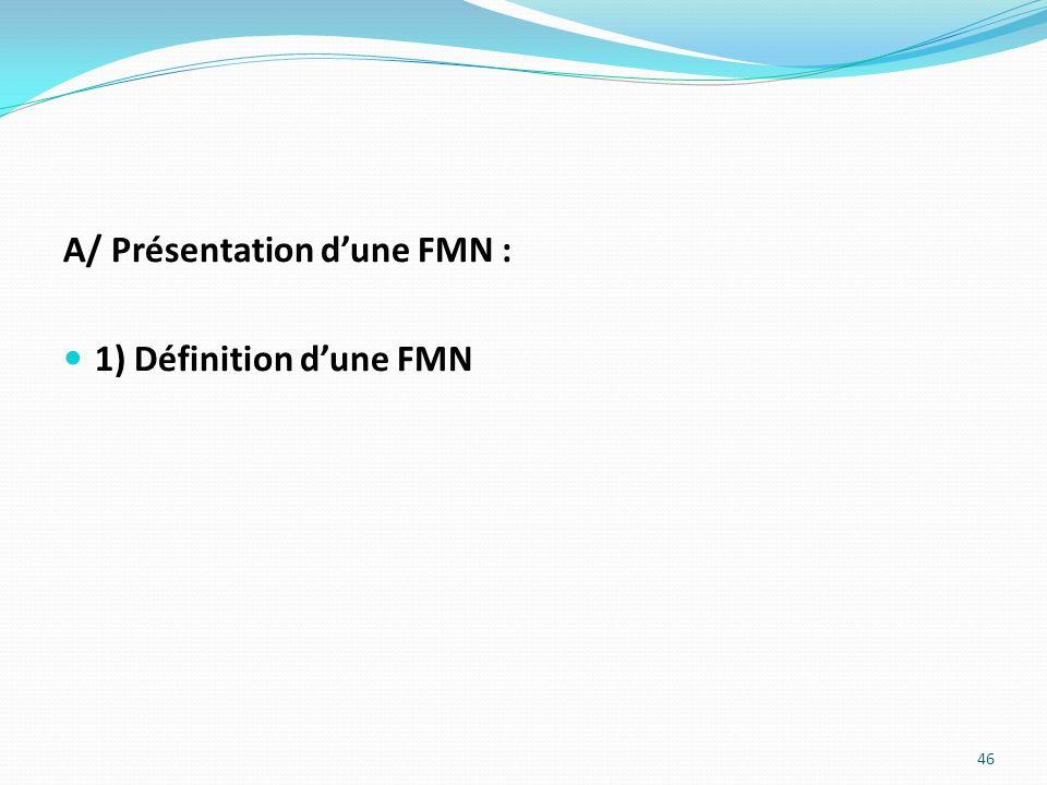 A/ Présentation dune FMN : 1) Définition dune FMN 46