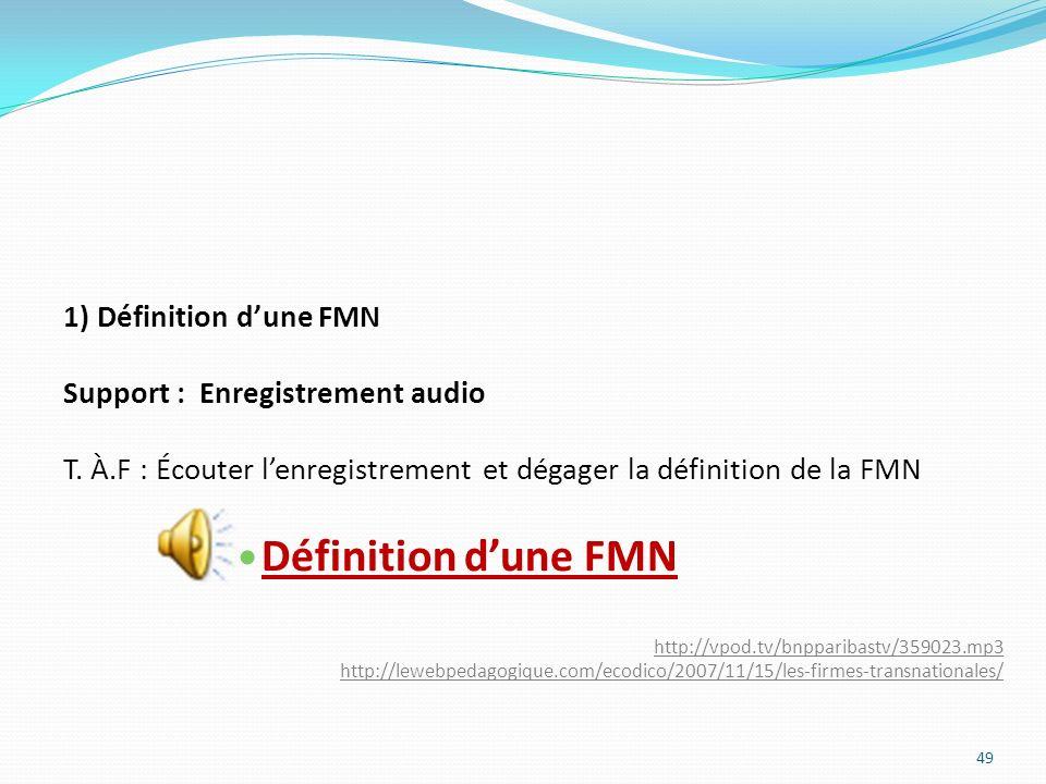 1) Définition dune FMN Support : Enregistrement audio T. À.F : Écouter lenregistrement et dégager la définition de la FMN Définition dune FMN http://v