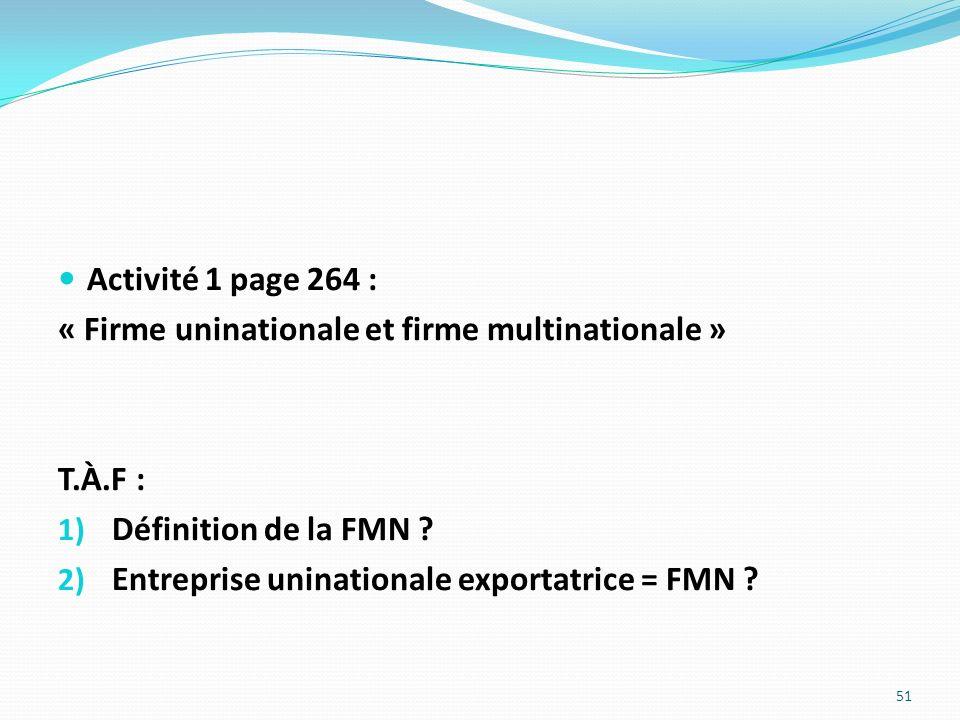 Activité 1 page 264 : « Firme uninationale et firme multinationale » T.À.F : 1) Définition de la FMN ? 2) Entreprise uninationale exportatrice = FMN ?
