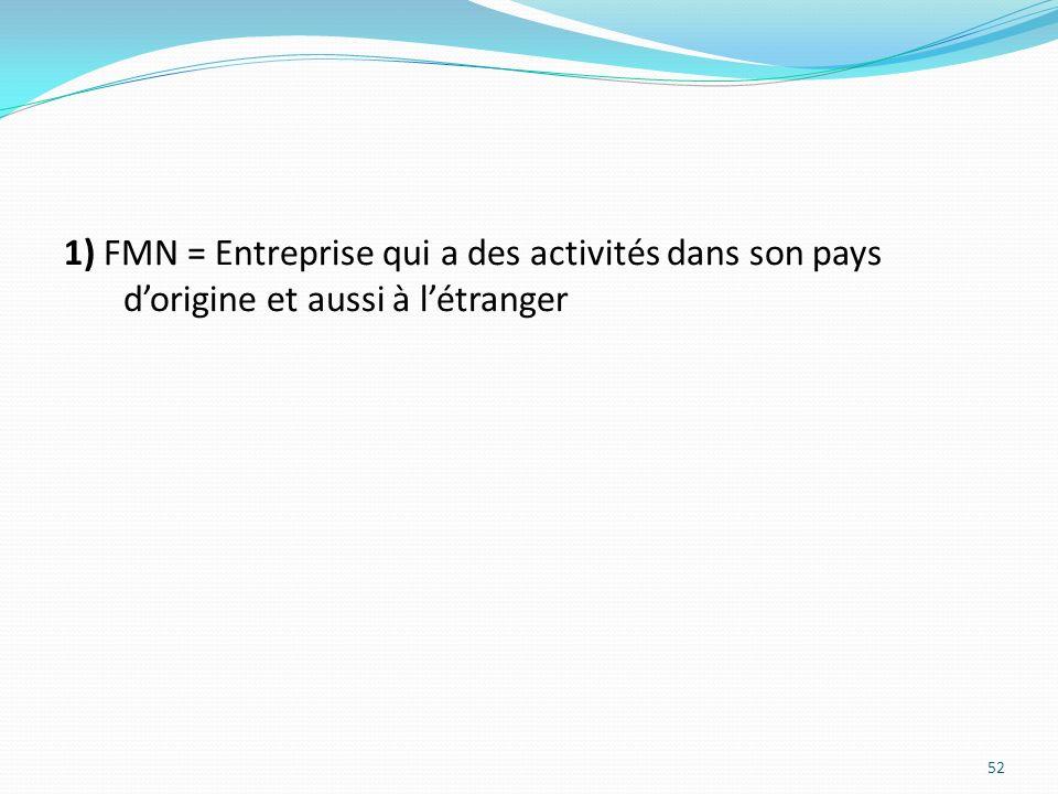 1) FMN = Entreprise qui a des activités dans son pays dorigine et aussi à létranger 52