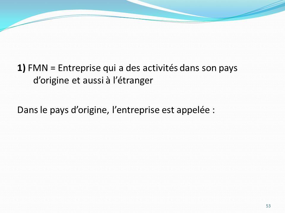 1) FMN = Entreprise qui a des activités dans son pays dorigine et aussi à létranger Dans le pays dorigine, lentreprise est appelée : 53