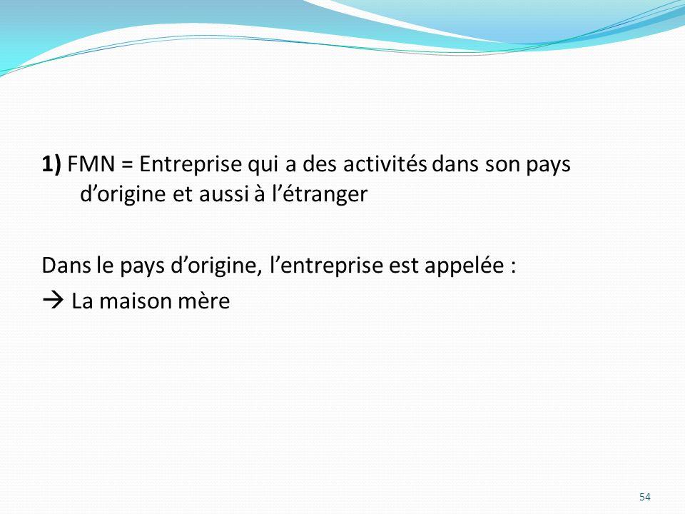 1) FMN = Entreprise qui a des activités dans son pays dorigine et aussi à létranger Dans le pays dorigine, lentreprise est appelée : La maison mère 54
