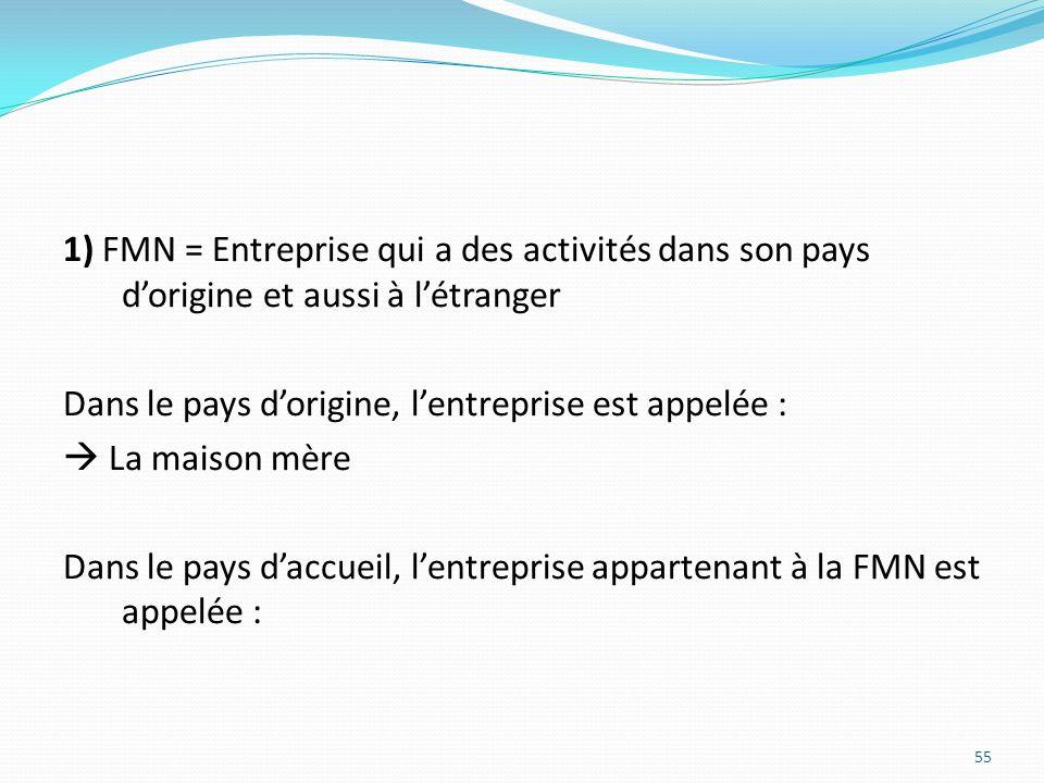 1) FMN = Entreprise qui a des activités dans son pays dorigine et aussi à létranger Dans le pays dorigine, lentreprise est appelée : La maison mère Da