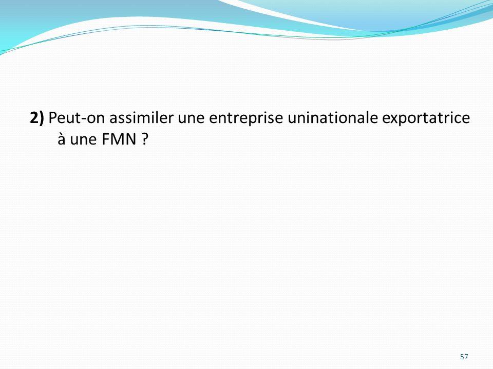 2) Peut-on assimiler une entreprise uninationale exportatrice à une FMN ? 57